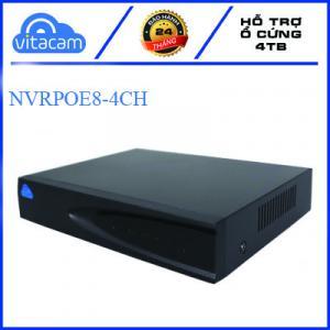 Đầu ghi hình Vitacam NVRPOE8 4CH có 4 kênh POE và 1 kênh IP, ST 5Mpx playback H265